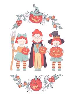 Enfants en costumes à la fête d'halloween