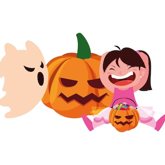 Enfants en costumes d'halloween