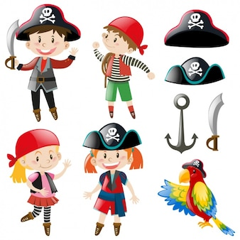 Les enfants avec des costumes de pirates