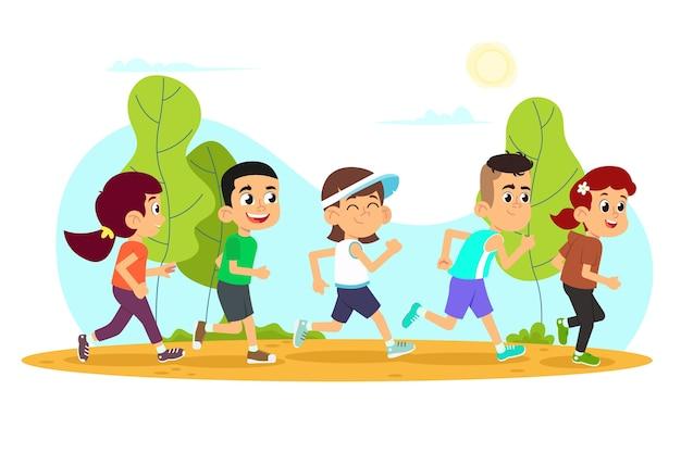 Les enfants courent. jolis garçons et filles jogging dans le parc.