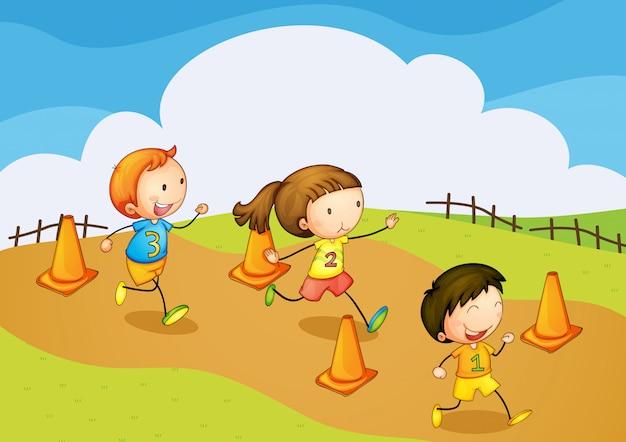 Enfants courir