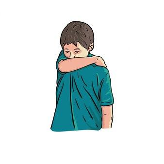 Les enfants couvrent sa toux avec le coude