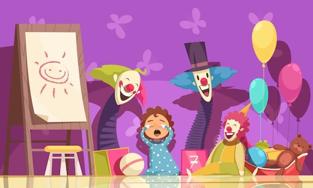 Les enfants craignent avec des clowns et des symboles de fêtes