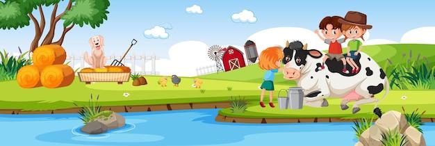 Enfants dans la nature scène de paysage horizontal de ferme au moment de la journée