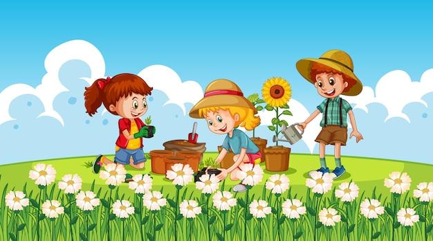 Les enfants dans la nature