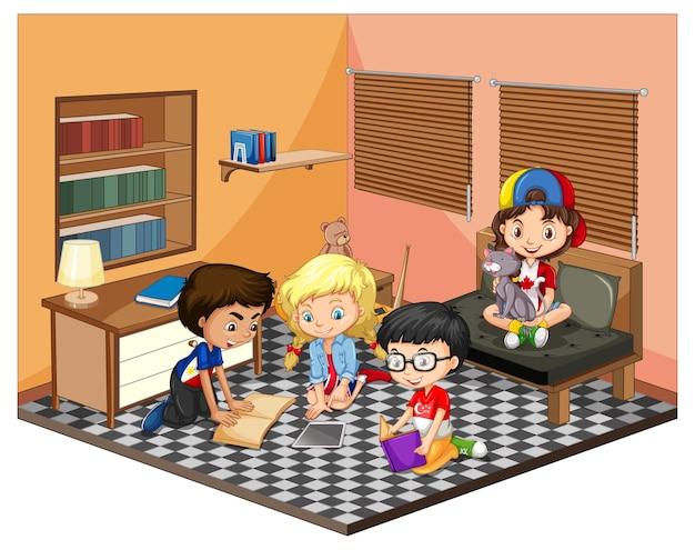 Enfants dans la scène du salon sur blanc