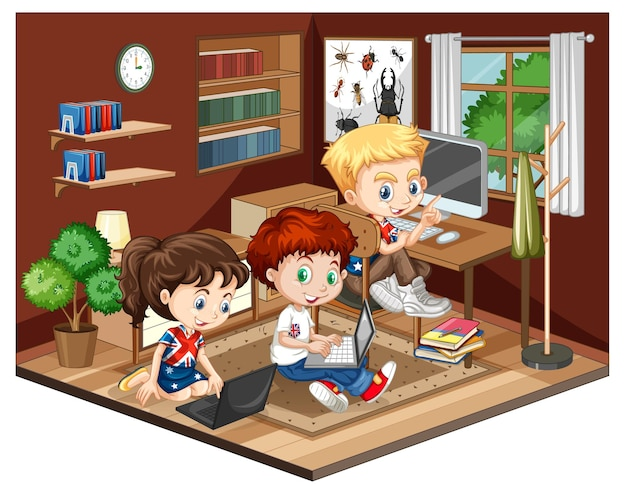Enfants dans la scène du salon sur fond blanc