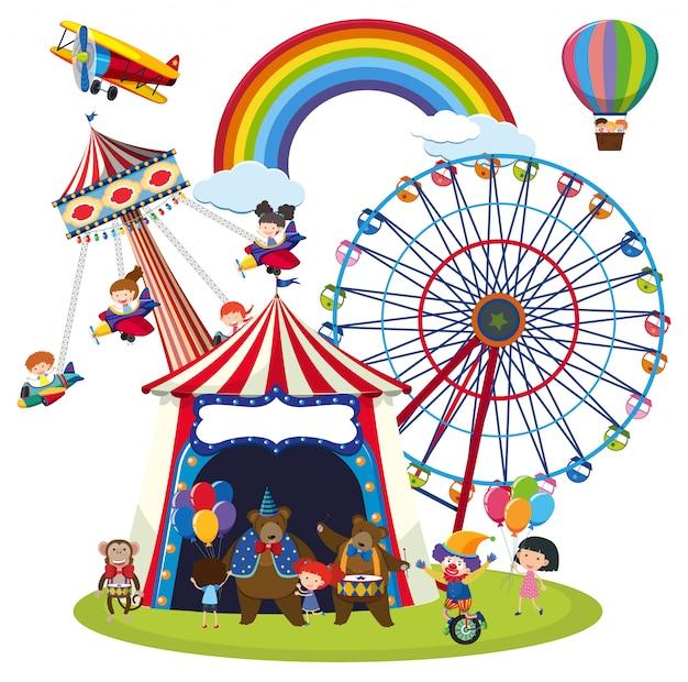 Enfants dans une scène de parc d'attraction