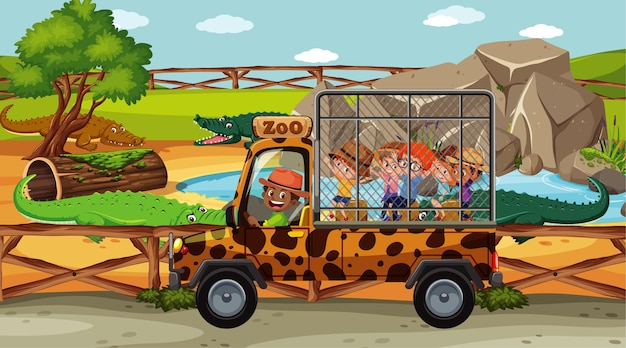 Enfants dans la scène safari avec groupe de crocodiles