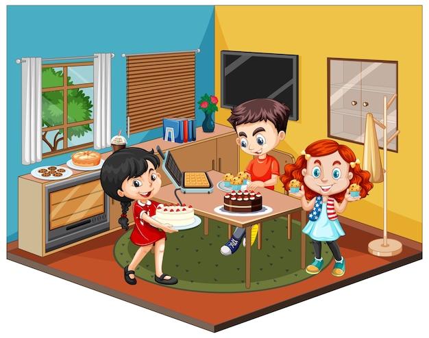 Enfants dans la scène de la salle à manger sur fond blanc