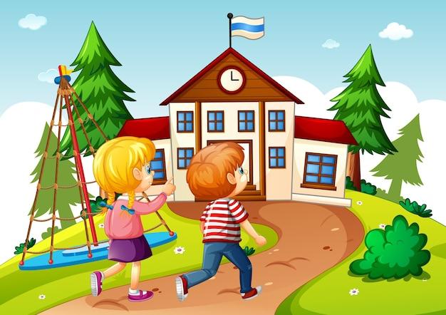 Enfants dans la scène scolaire