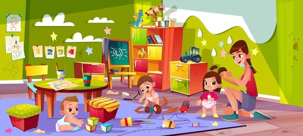 Enfants dans le vecteur de dessin animé de l'école maternelle.