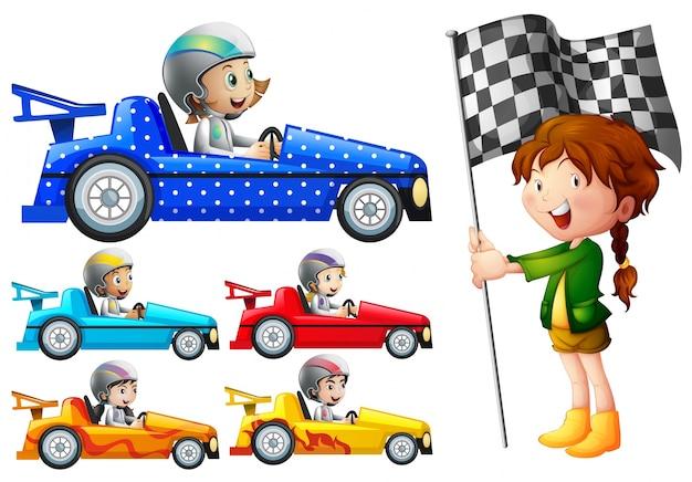 Les enfants dans les voitures de course