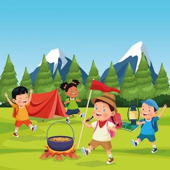 Enfants dans une zone de camping