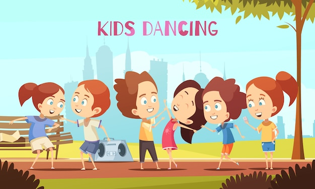 Enfants, danse, illustration vectorielle