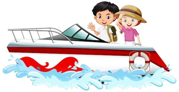 Enfants debout sur un bateau à moteur sur fond blanc