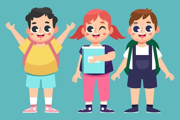 Enfants design plat retour au concept de l'école