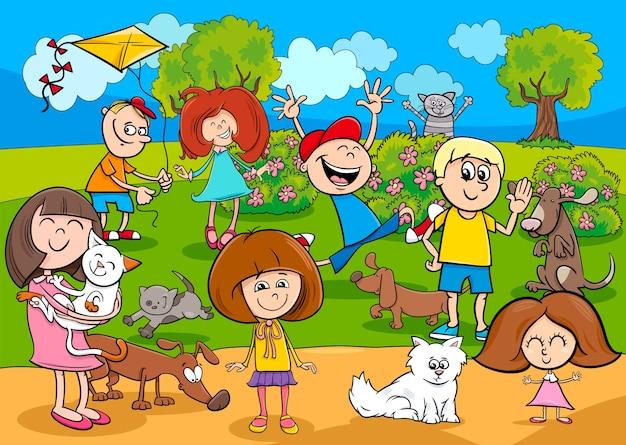 Enfants dessin animé avec des animaux domestiques dans le parc