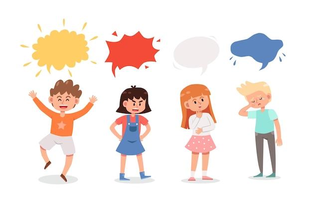 Enfants de dessin animé avec bulle de dialogue
