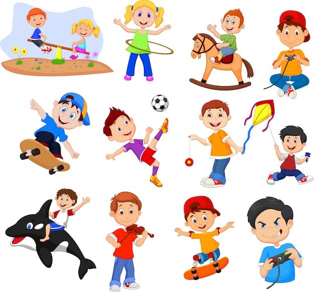 Enfants dessin animé avec différents loisirs sur fond blanc