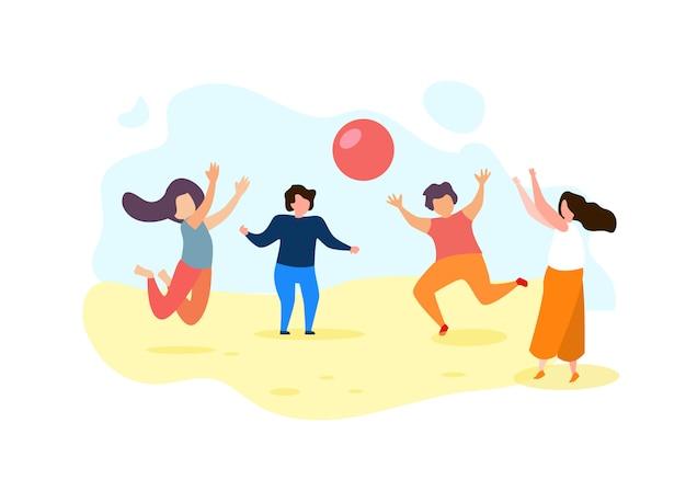 Enfants de dessin animé heureux jouent au ballon à l'extérieur