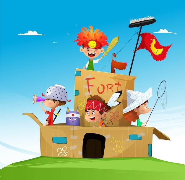 Des enfants de dessin animé heureux