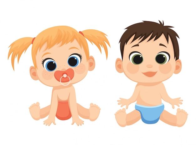 Enfants de dessin animé. illustration de bébés mignons. petit garçon et fille en pampers.