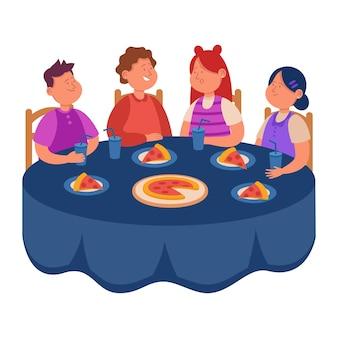 Enfants de dessin animé mangeant de la pizza pour le déjeuner ensemble