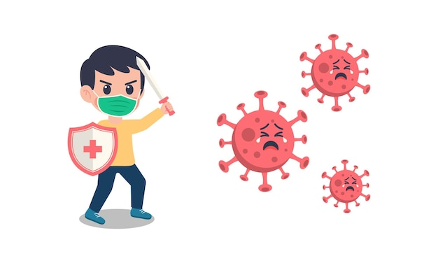 Enfants de dessin animé portant un masque combattant le virus corona.