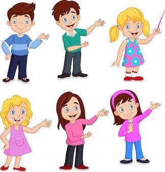 Enfants dessin animé avec une pose différente