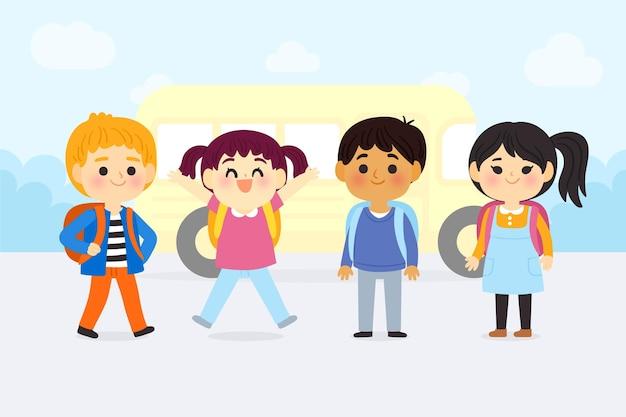 Enfants dessin animé de retour à l'école
