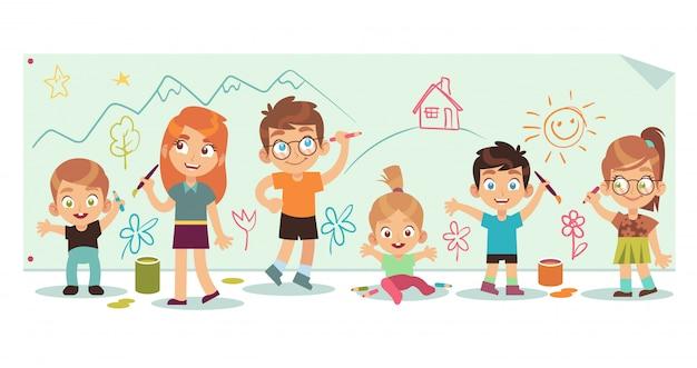 Enfants dessinant des images. art enfants peinture outils kid groupe diversité à la main dessiner brosse photo couleur, illustration de dessin animé