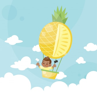 Enfants dessinés sur un ananas ballon à air chaud