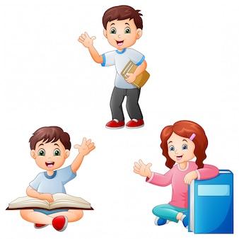 Enfants dessinés avec un livre