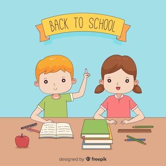 Enfants dessinés à la main au fond de l'école