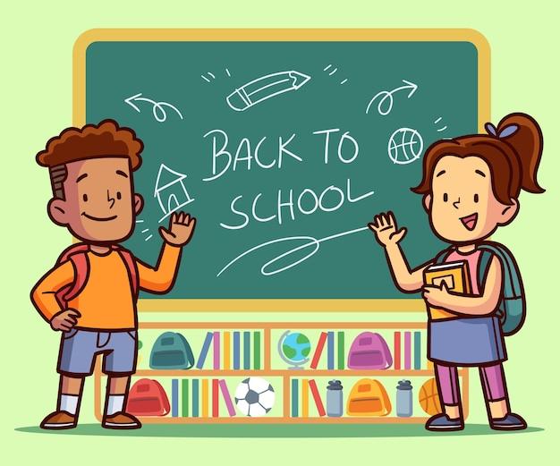 Enfants dessinés à la main à l'école