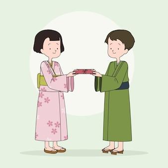 Enfants dessinés à la main avec des enveloppes oshidama