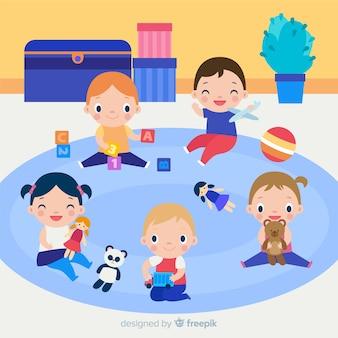 Enfants dessinés à la main jouant en arrière-plan