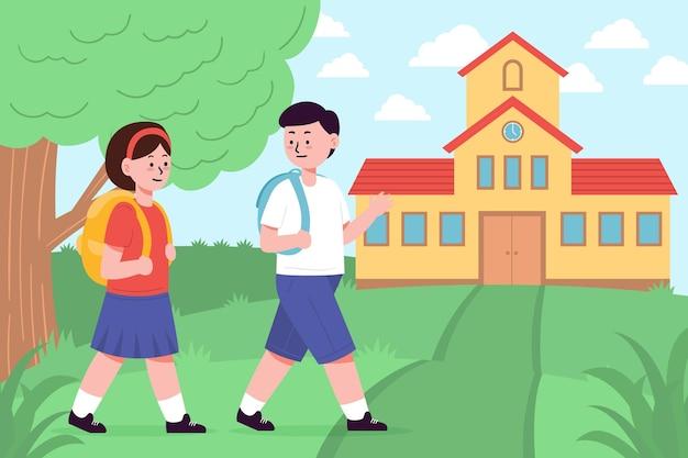 Les enfants dessinés à la main retournent à l'école