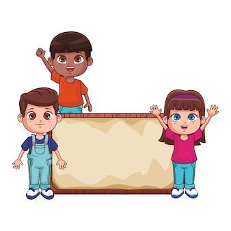 Enfants avec des dessins animés