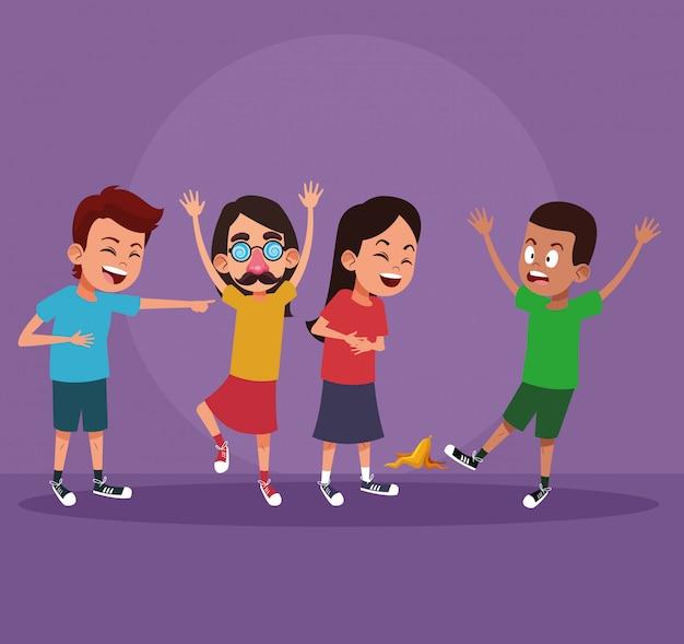 Enfants avec des dessins humoristiques