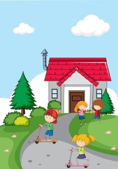 Enfants devant la maison