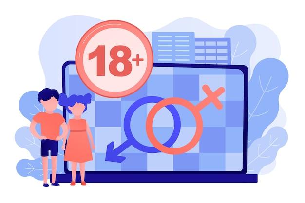 Enfants devant un ordinateur portable avec restriction de contenu pour adultes pour vidéo inappropriée. contenu pour adultes, notification de contenu sexuel, concept de restriction d'âge de 18 ans