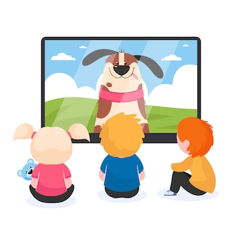 Enfants devant la télé