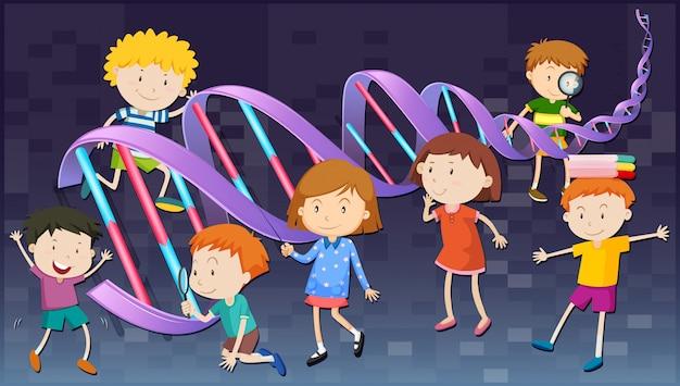 Enfants avec diagramme d'adn
