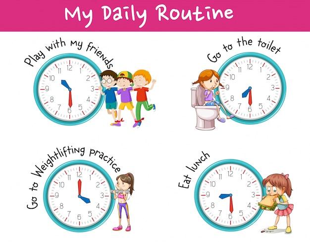Enfants et différentes activités pour la routine quotidienne