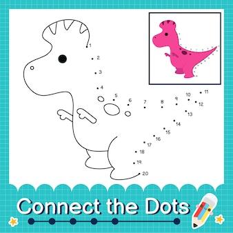 Les enfants de dinosaures relient la feuille de calcul des points pour les enfants comptant les nombres 1 à 20 le corythosaurus