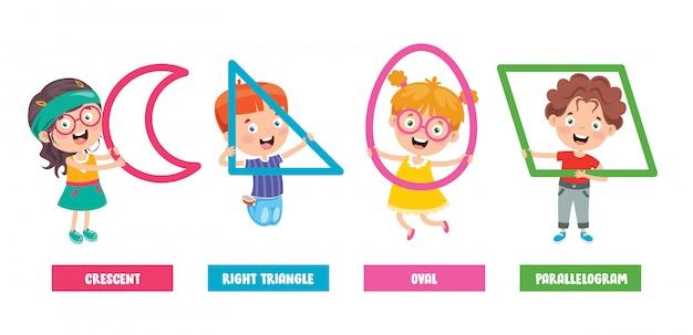 Enfants drôles apprenant des formes de base