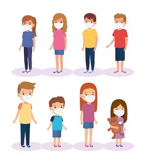 Enfants du groupe mignon en utilisant la conception d'illustration de masque facial