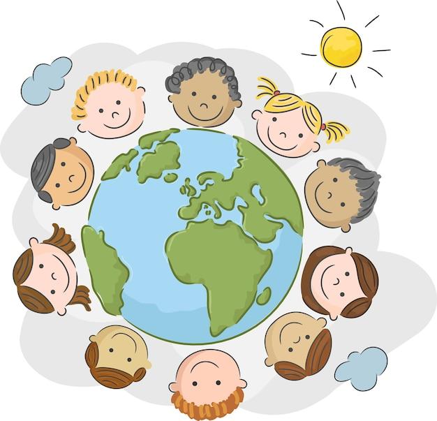 Les enfants du monde en cercle dans le monde